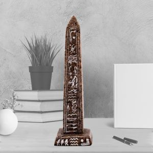 Brown Ancient Egyptian Obelisk handmade of Alabaster, Obelisk for sale