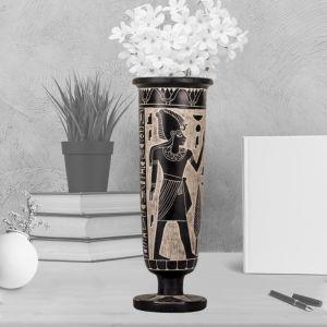 Osiris Ornamented Black Basalt Vase Handmade, Egyptian Vases for Sale