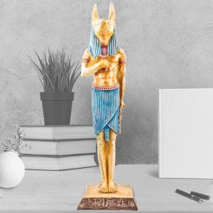 Colorful Alabaster handmade Anubis God Statue, Egyptian Dog Statue