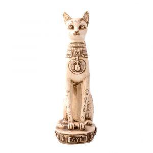 Handmade White Alabaster Goddess Bastet Statue, The Egyptian Bastet For Sale