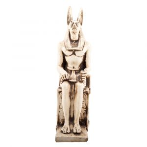 Front Image, The Dead Protector God Anubis Statue Handmade of Alabaster, Anubis Sculpture