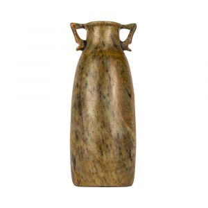 Green Alabaster Vase handmade with two-handles, Amphora Vase