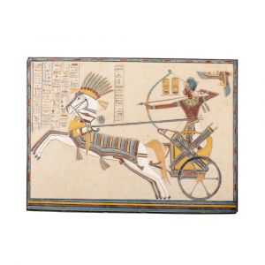 Egyptian Wall Decor of The King Ramses Portrait While The War, Hand-curved From White Limestone