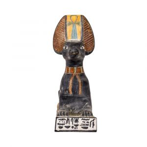 Front pose of the Jackal headed statue of Anubis God with vivid black hand paint, with a key of life on the head of the jackal