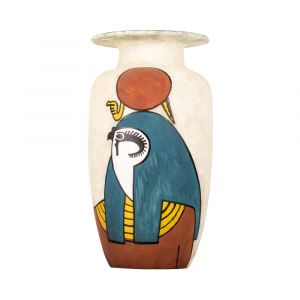 Horus Vase handmade of Alabaster stones, hand-painted with vivid paint of turquoise, white and brown