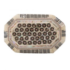 Front image, Deluxe Arabesque designed box, handmade of Mahogany wood and inlaid with mother of pearls