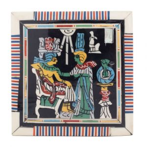Front image, pharaonic scene of king tut, jewelry wood box with laid and lock, mother-of-pearl inlaid, small vintage wooden boxes