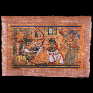 80 years old Unique Papyrus Portrait of King Tut-Ankh-Amun with his wife in Hunting scene.