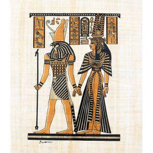 Egyptian handmade Papyrus portrait of goddess Maat and Horus