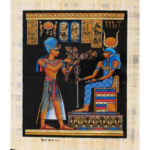 Egyptian handmade papyrus shows a portrait of a King with a blue crown of the war offering Louts flowers to the Goddess Hathor