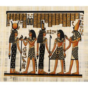 Egyptian papyrus portrait of King Ramesses the Great  in an offering scene to Goddess Isis and Goddess Hathor guided by Horus
