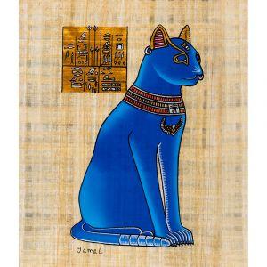 Egyptian papyrus portraits of Goddess Bastet (Blue)