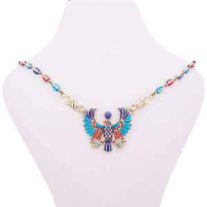 The Egyptian Scarab Necklace handmade of 18K Gold and inlaid with Semi-precious stones, Lapis Scarab Pendant