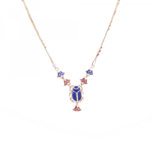 Sophisticated Piece Of Jewelry handmade of 18K Gold in the shape of the Egyptian Scarab and inlaid with Semi-precious stones, Lapis Pendant