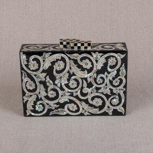 Black Clutch Bag with Pearls | Pearl Evening Bag | Pearl Bag | Mother of Pearl Clutches | Mother of Pearl Purse | Swan Bazaar