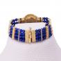 Gold Egyptian styled Bracelet adorned with Real Lapis Stones, Gemstone Bracelet