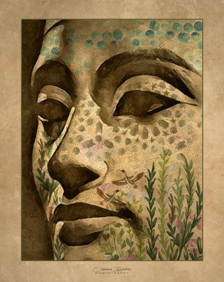 Vintage Nefertiti Artistic Expression Mixed Media Artwork Canvas Print