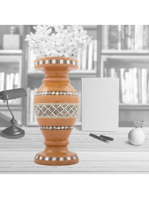 Handmade Wood of  vase inlaid with mother of pearls, oriental vase for sale