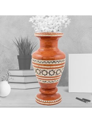 Mahogany handmade Vase, inlaid with mother of pearls, Rustic wood Vase