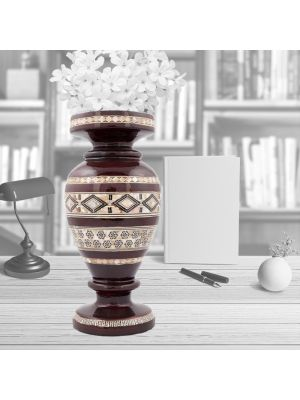 Islamic Arabesque Wood Vase inlaid with Mother-of-pearls, Wooden Vase