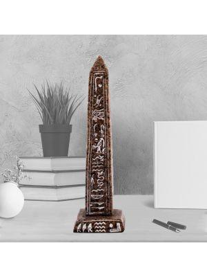 Brown Ancient Egyptian Obelisk handmade of Alabaster, Obelisk for sale