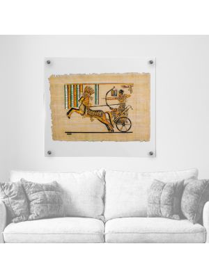 Handmade Royal Egyptian Papyrus depicts the war scene of King Ramses II, Ramses Painting