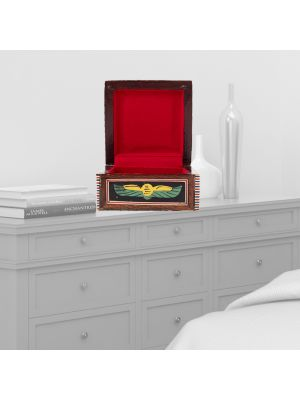 Royal Prayer Scene Pharaonic Handmade Box with Mother of Pearl (4 x 4 inches)