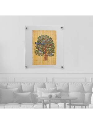Tree of Life Papyrus portrait hand-painted with gouache colours, Egyptian Tree of Life