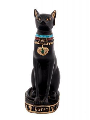Black Handmade Alabaster Bastet, Bastet Statue For Sale (Front Image)