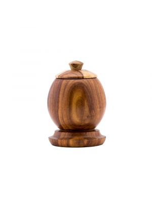 Wooden Sugar bowl with a lid are Hand-made of Asersus wood in the vintage natural brown trunk color