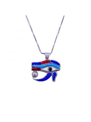 Sterling Silver Handmade wedjat Eye of Horus Necklace, Egyptian God Eye