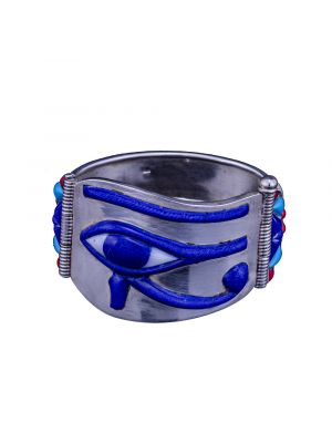 Silver semi-precious stone inlaid Wedjat eye of Horus Cuff Bracelet, Eye of Horus Bracelet