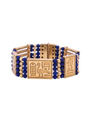 Pharaonic Designed Hand-Bracelet handmade of 18K Gold and inlaid with semi-precious stone, Lapis Gold Bracelet