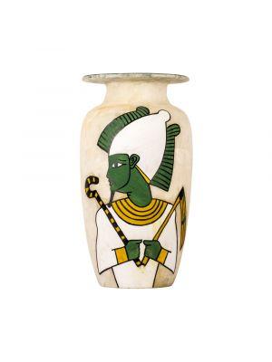 White Marble Alabaster vase handmade featuring Osiris God figure, White Marble Vase