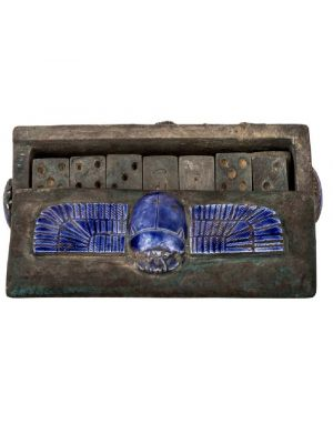 Blue Lips winged scrab adorned, antique vintage Dominoes box