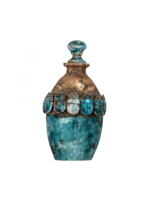 Decorative Essential Oil Diffuser in a vintage style with Ancient Egyptian Scarabs adorned in turquoise color