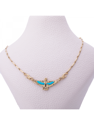 Winged Isis Goddesses 18K Gold Handmade, Vintage Gold Necklace