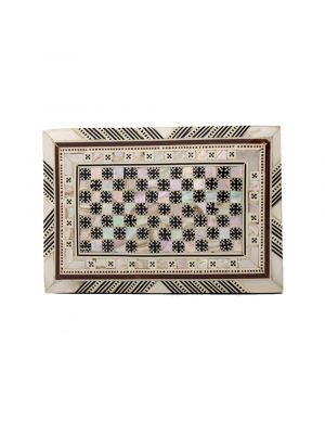 Front Image of arabesque wooden box handmade, inlaid with mother-of-pearl