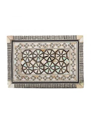 Front image of a wooden jewelry box, arabesque designed, mother-of-pearl inlaid, Wooden Boxes for sale