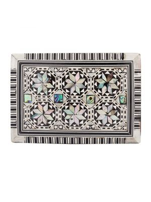 Deluxe Arabesque Islamic Wooden box, Handmade and Inlaid with Precious Mother of Pearl