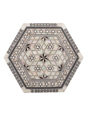 deluxe Islamic hexagonal handmade box, inlaid with precious rare mother of pearl, jewelry wooden hexagonal box