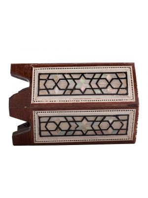 Side Picture, Arabesque Deluxe Pen Holder, handmade of Mahogany wood and inlaid with Mother-of-Pearls, Wooden Pen Stand
