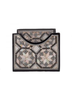 Arabesque holder inlaid with mother of pearls, with 6 Drink Coasters, Drink Coasters with holder