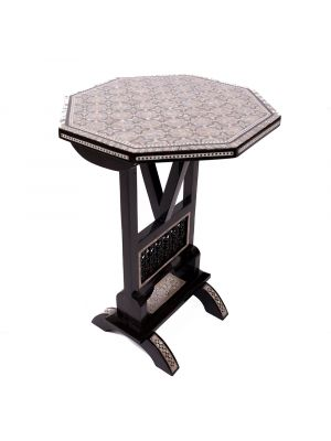 Black Arabesque designed table, handmade of mahogany wood with mothers of pearl inlaid, arabesque table, front image