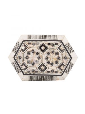 Wooden inlaid with rare precious mother of pearl hexagonal box, The pearls are inlaid in Geometrical floral patterns that are known as arabesque art style