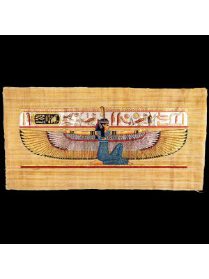 Royal Papyrus Embroidered Portrait of Winged Ma'at the Egyptian Goddess of Truth and Justice.