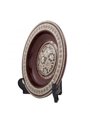 Side Image, Brown Arabesque pattern designed decorative plate handmade and inlaid with mother-of-pearls, Decorative plate for hanging