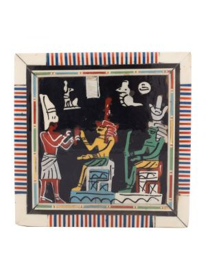 Front Image of a pharaonic scene wood box handmade inlaid with mother of pearls, Jewelry Gift Box