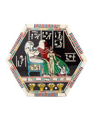 Pharaonic wooden hexagonal box handcrafted with natural precious materials (Royal Family Scene)