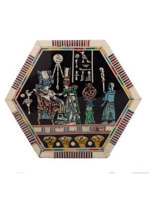 Pharaonic wooden hexagonal box handcrafted with natural precious materials (Coronation Scene)